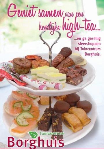Boek een heerlijke high tea in de buurt van Enschede bij Tuincentrum Borghuis